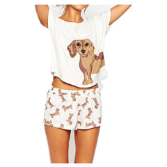 Women's Dachshund Pajama Top + Shorts Stretchy Loose