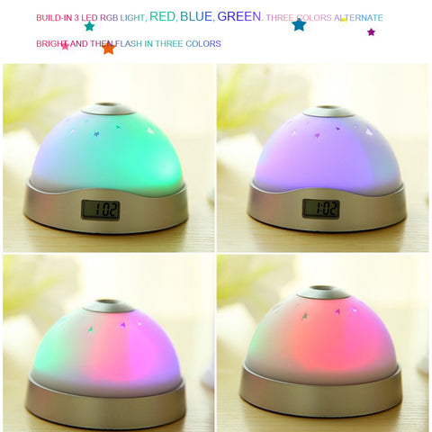 Romantic Rotating Star Moon Sky Rotation Night Projector with Music Alarm, Clock, Calendar and Thermometer