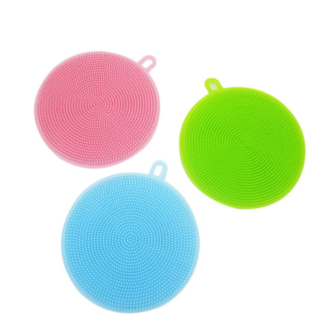 3 PCS Silicone Scrubber Dish Wash Cloth