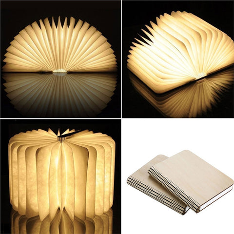 USB Rechargeable Wooden Folding LED Night Book Light Magnetic Table Desk Lamp