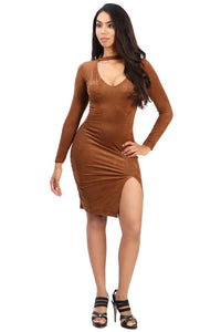 Malika Tan Suede Dress