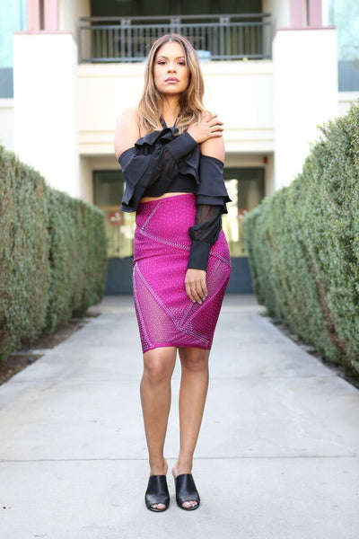 Fuschia Crystal Bandage Skirt