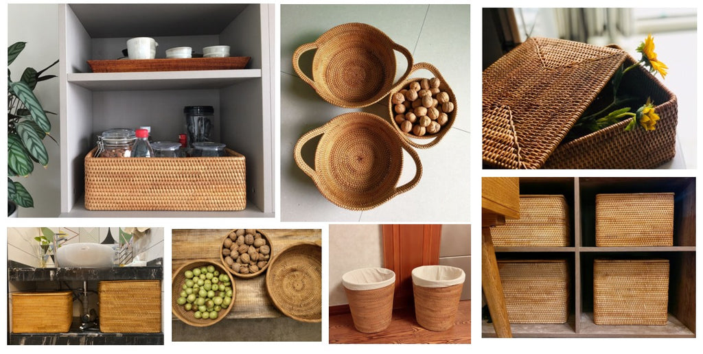 Beautiful Handmade Rattan Storage Baskets, Rectangular Storage Baskets, Round Storage Baskets