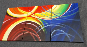 Painting Sample of Red Abstract Art, 3 Panel Acrylic Painting