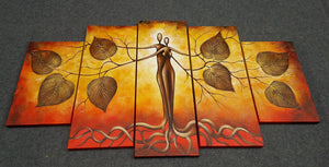 Painting Samples of 5 Piece Canvas Art, Tree of Life Painting, Abstract Painting