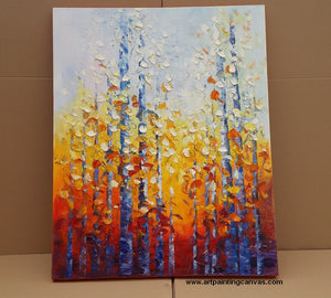 Autumn Birch Tree Painting, Landscape Art for Wall Decor