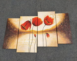 Painting Samples of Flower Painting, Red Tulip Painting, Large Acrylic Painting, 56 Inch Wall Art, Bedroom Wall Art