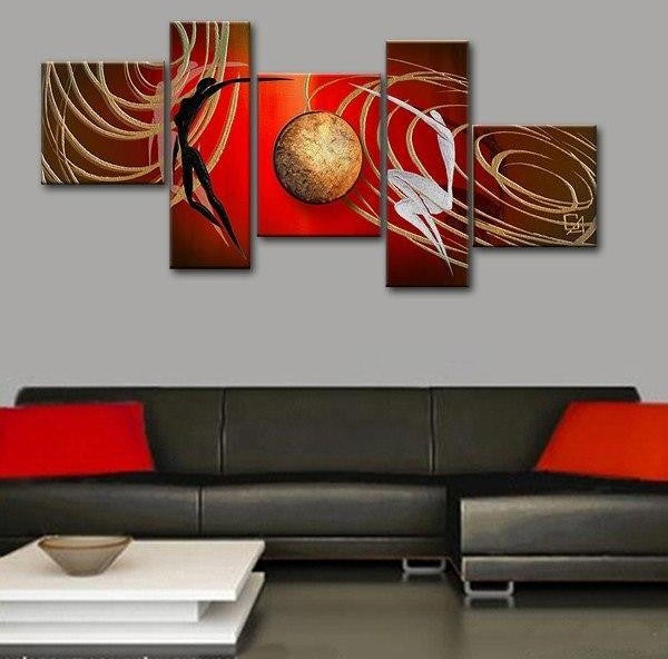 Abstract Art of Love, Simple Modern Art, Love Abstract Painting, Bedroom Room Wall Art Paintings, 5 Piece Canvas Painting