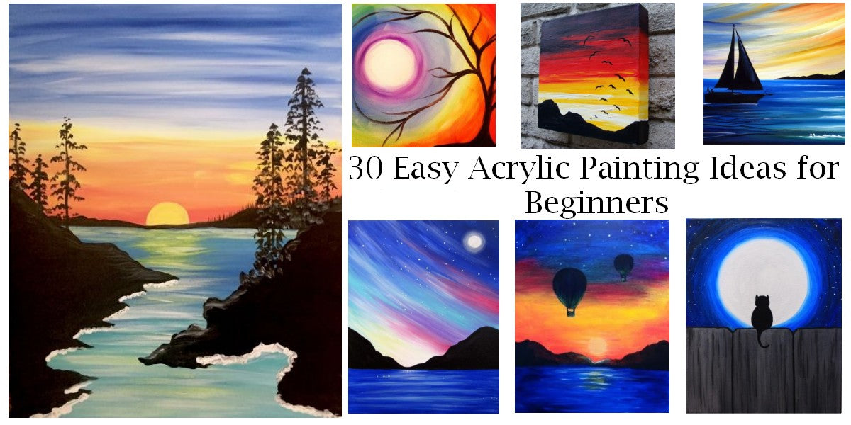 30 Easy Acrylic Painting Ideas for Beginners, Easy Landscape Paintings, Simple Tree Painting, Easy Sunrise Paintings, Easy Flower Painting Ideas