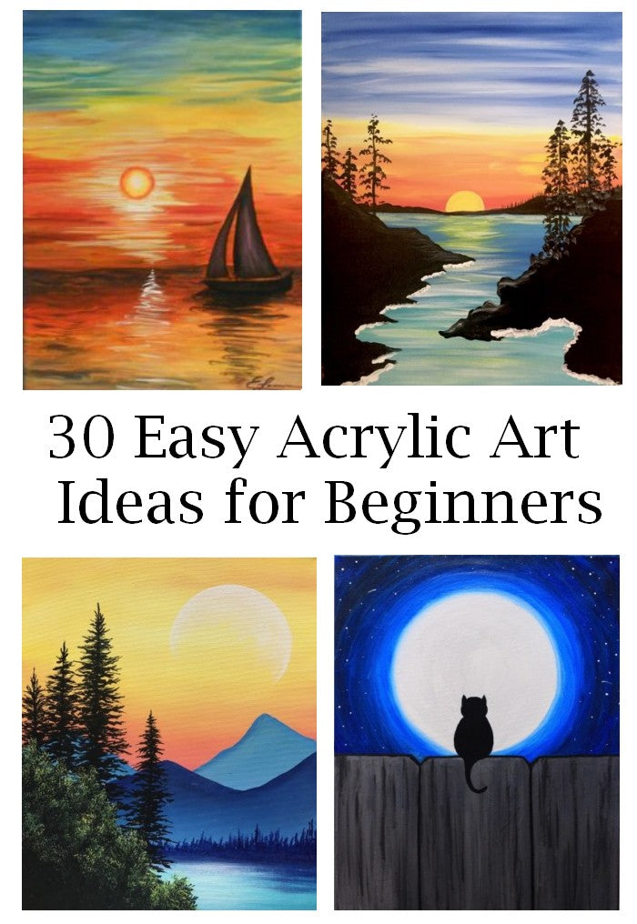 Cute Easy Abstract Painting Ideas, Simple Nature Painting Ideas for Beginners, Easy Landscape Paintings, Simple Tree Painting, Easy Sunrise and Sunset Paintings, Easy Flower Painting Ideas