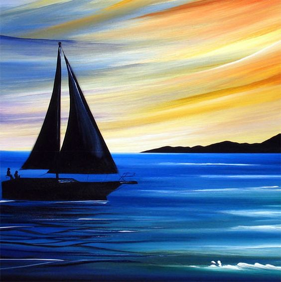 30 Easy Acrylic Painting Ideas for Beginners, Easy Landscape Paintings, Easy nature painting ideas, beginner's painting, easy sunrise painting, simple boat paintings