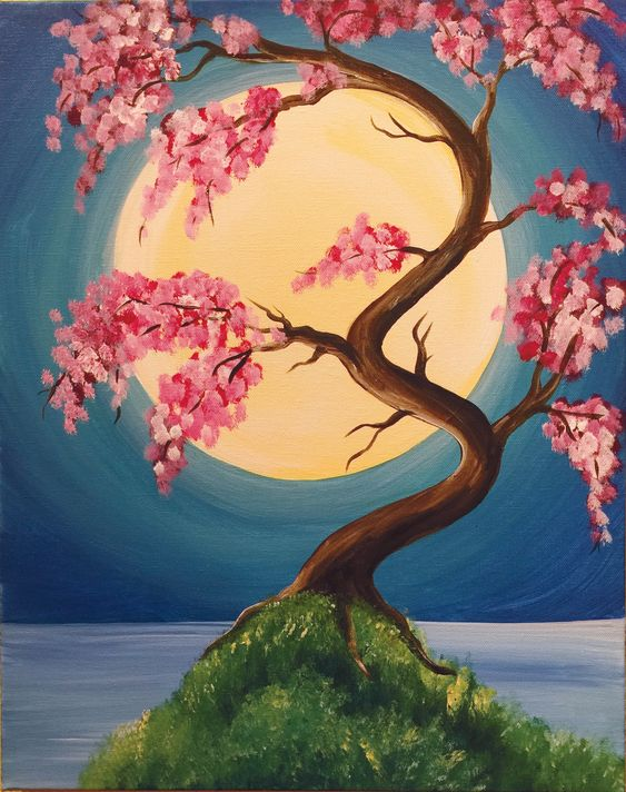 30 Easy Acrylic Painting Ideas for Beginners, Easy Tree Painting Ideas, Easy Landscape Paintings, Easy nature painting ideas, beginner's painting