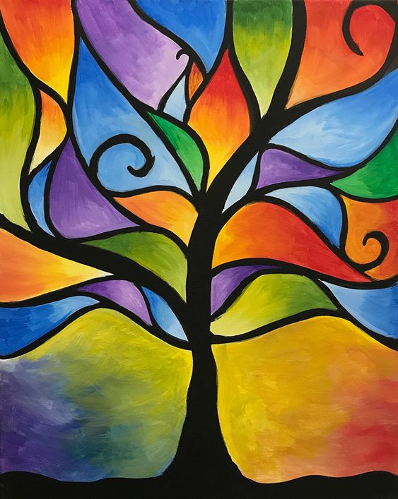 Simple Acrylic Abstract Painting Ideas, Easy Tree Painting Ideas for Beginners, Easy Landscape Painting Ideas