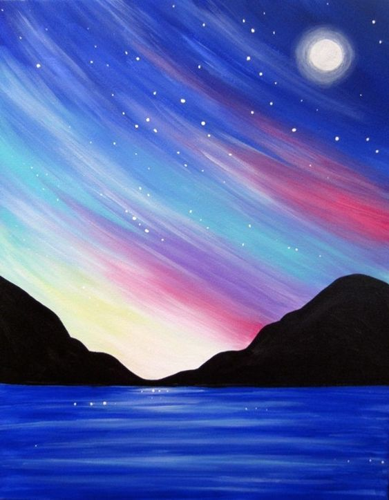 30 Easy Acrylic Painting Ideas for Beginners, Easy Landscape Paintings, Easy nature painting ideas, beginner's painting, night sky paintings
