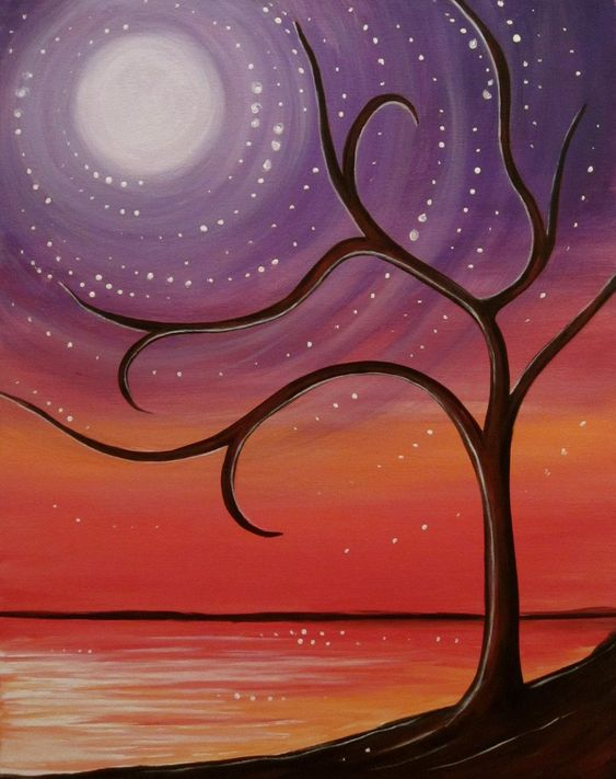 30 Easy Acrylic Painting Ideas for Beginners, Easy Landscape Paintings, Easy nature painting ideas, beginner's painting, simple tree painting ideas for beginners