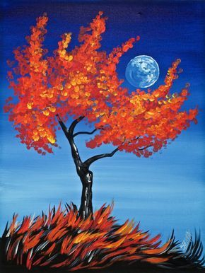 30 Easy Acrylic Painting Ideas for Beginners, Easy Landscape Paintings, Easy nature painting ideas, moon tree paintings, beginner's painting