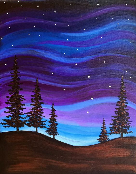 30 Easy Acrylic Painting Ideas for Beginners, Easy Landscape Paintings, Easy nature painting ideas, night sky painting ideas, beginner's painting
