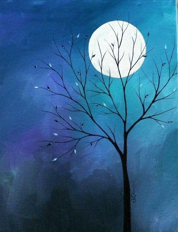 30 Easy Tree Painting Ideas for Beginners, Moon Painting, Simple Acrylic Abstract Painting Ideas, Easy Landscape Painting Ideas