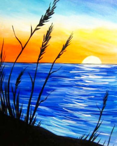 30 Easy Acrylic Painting Ideas for Beginners, Easy Landscape Paintings, Easy nature painting ideas, beginner's painting, sunrise painting ideas