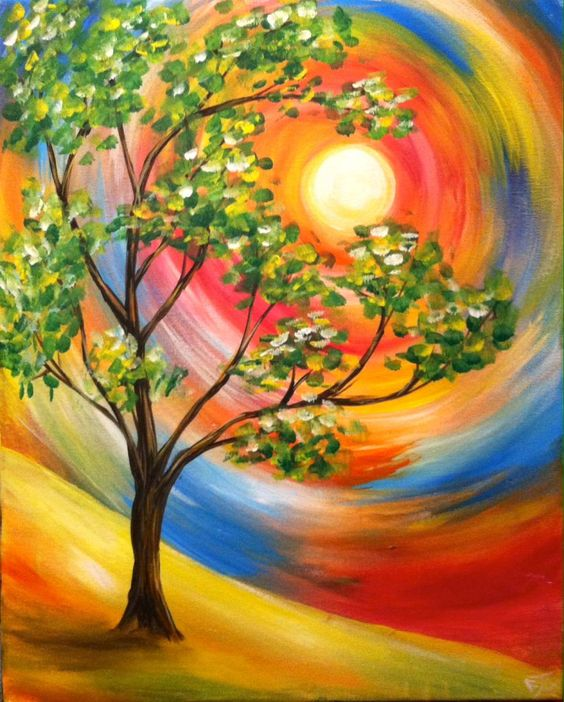 30 Easy Tree Painting Ideas for Beginners, Simple Acrylic Abstract Painting Ideas, Simple Landscape Art Ideas