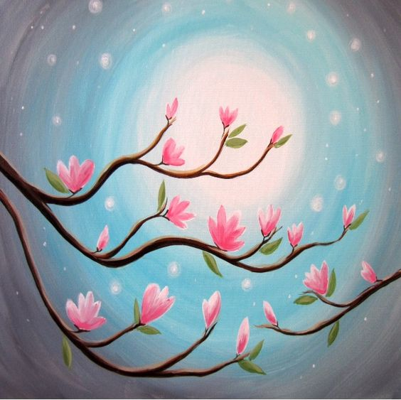 30 Easy Tree Painting Ideas for Beginners, Flower Painting, Simple Acrylic Abstract Painting Ideas, Easy Landscape Painting Ideas