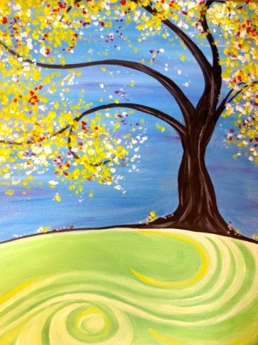 Easy Landscape Painting Ideas, Easy Tree Painting Ideas for Beginners, Simple Acrylic Abstract Painting Ideas