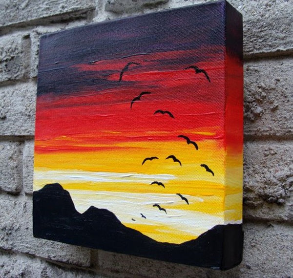 30 Easy Acrylic Painting Ideas for Beginners, Easy Landscape Paintings, Easy nature painting ideas, sunset painting ideas, beginner's painting