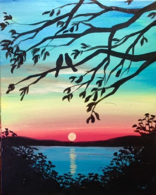 30 Easy Acrylic Painting Ideas for Beginners, Easy Landscape Paintings, Easy nature painting ideas, beginner's painting, Simple sunset painting ideas