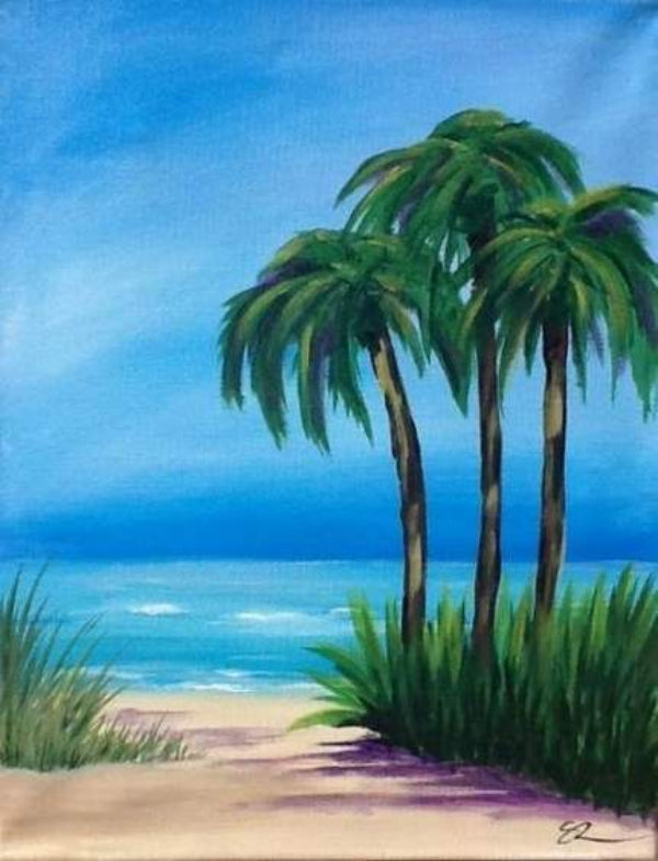 30 Easy Acrylic Painting Ideas for Beginners, Easy Landscape Paintings, Easy nature painting ideas, beginner's painting, palm tree painting ideas