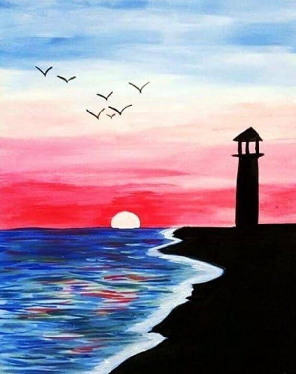30 Easy Acrylic Painting Ideas for Beginners, Easy Landscape Paintings, Easy nature painting ideas, easy sunset painting ideas, beginner's painting