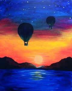 30 Easy Acrylic Painting Ideas for Beginners, Easy Landscape Paintings, Easy nature painting ideas, simple sunrise painting, baloon painting, beginner's painting