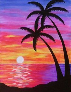 30 Easy Acrylic Painting Ideas for Beginners, Easy Landscape Paintings, Easy nature painting ideas, beginner's painting, easy sunrise paintings
