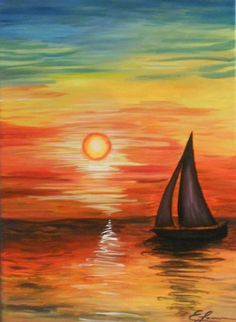 30 Easy Acrylic Painting Ideas for Beginners, Easy Landscape Paintings, Easy nature painting ideas, beginner's painting, easy sunrise paintings, simple boat paintings