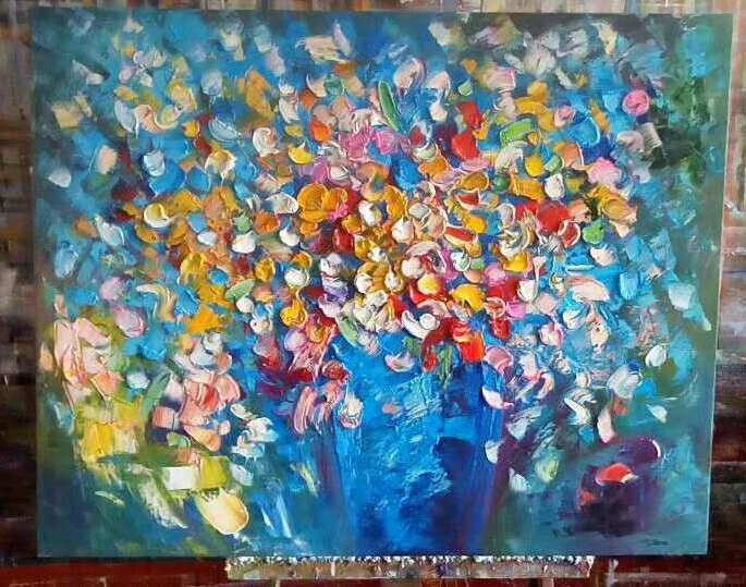heavy texture flower painting