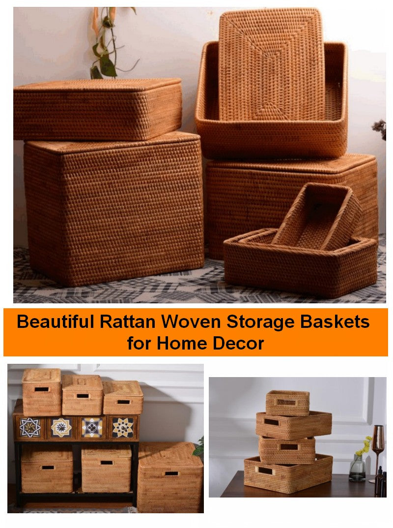 Storage Baskets for Shelves, Woven Storage Baskets, Decorative Basket for Shelves, Rectangular Storage Baskets for Kitchen, Round Storage Baskets