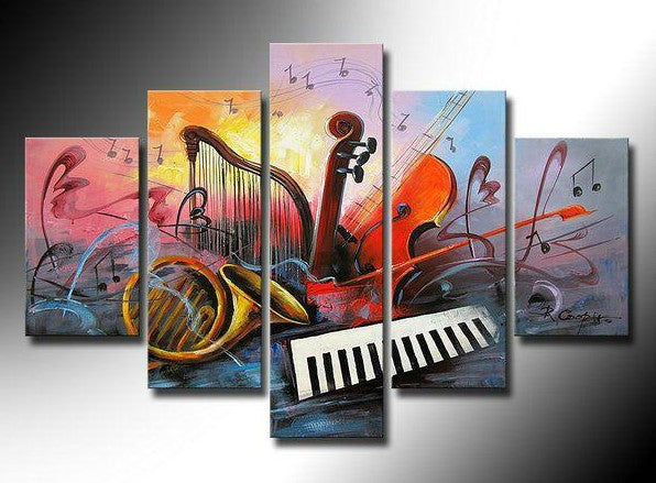 Music Abstract Painting, Living Room Canvas Paintings, Buy Paintings Online, Hand Painted Acrylic Paintings
