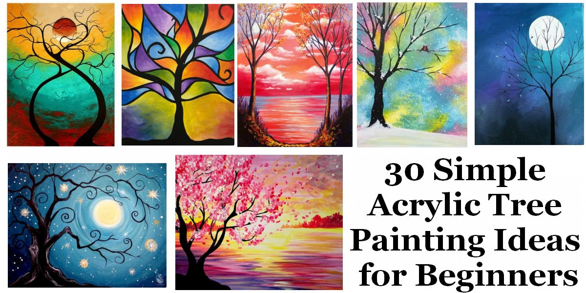 Easy Tree Paintings, Easy Acrylic Painting Ideas for Beginners, Simple Abstract Wall Art Paintings