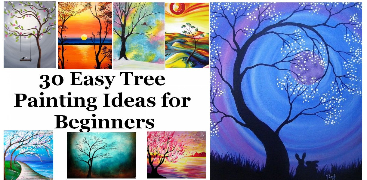 Easy Tree Painting Ideas for Beginners, Simple Acrylic Abstract Painting Ideas