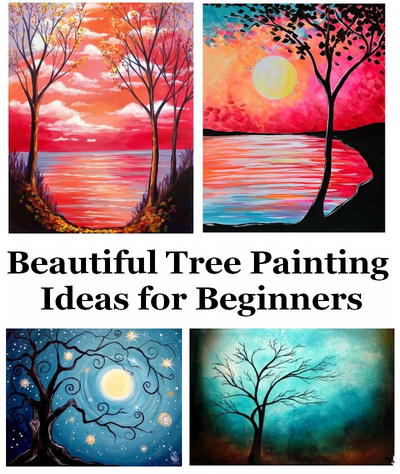 30 Easy Tree Painting Ideas for Beginners, Easy Acrylic Art Ideas, Simple Abstract Painting Ideas, Easy Landscape Painting Ideas
