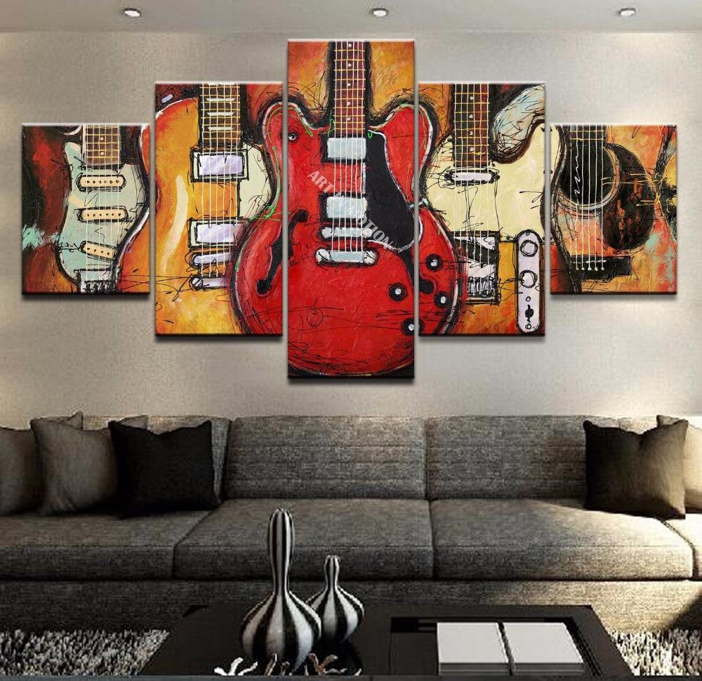5 Piece Abstract Painting, Guitar Painting, Large Paintings for Living Room, Modern Abstract Painting, Musical Instrument Painting