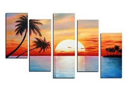 5 Piece Canvas Painting, Beach Palm Tree Sunset Painting, Landscape Canvas Painting, Acrylic Painting for Living Room