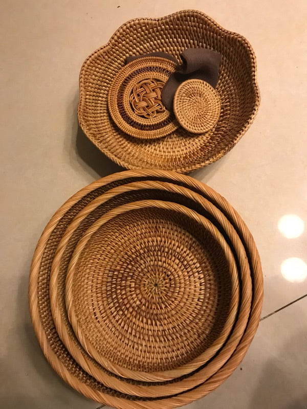 Handmade Round Basket, Woven Basket with Handle, Rustic Basket