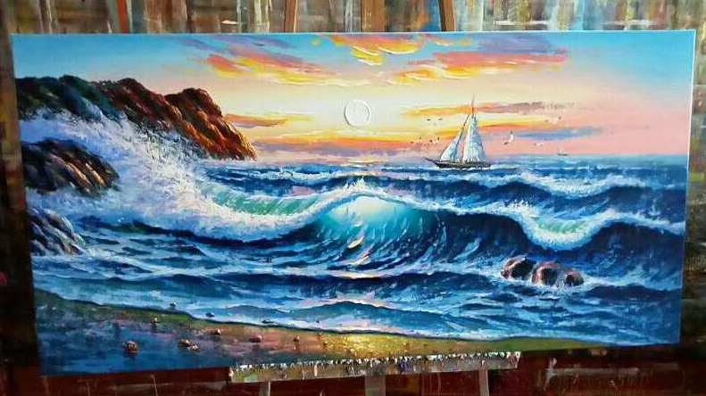 seascape painting, sail boat art
