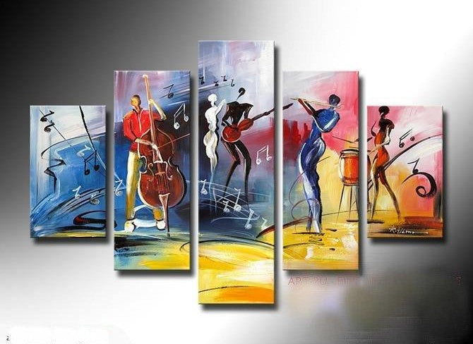 5 Piece Abstract Painting, Large Painting on Canvas, Cellist Painting, Flute Player, Drummer Painting, Modern Acylic Paintings, Buy Paintings Online