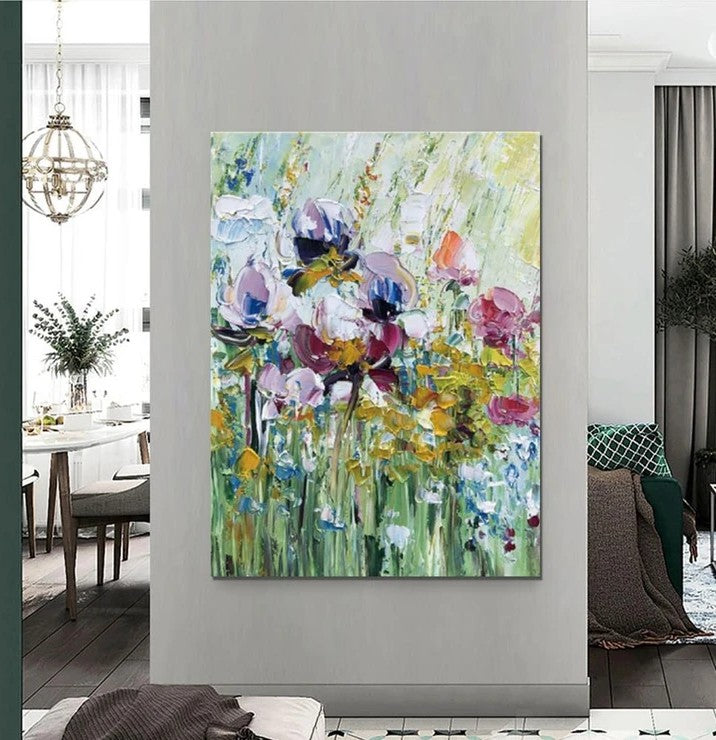 Heavy Texture Painting, Acrylic Flower Painting, Large Wall Art Ideas for Bedroom, Abstract Landscape Painting