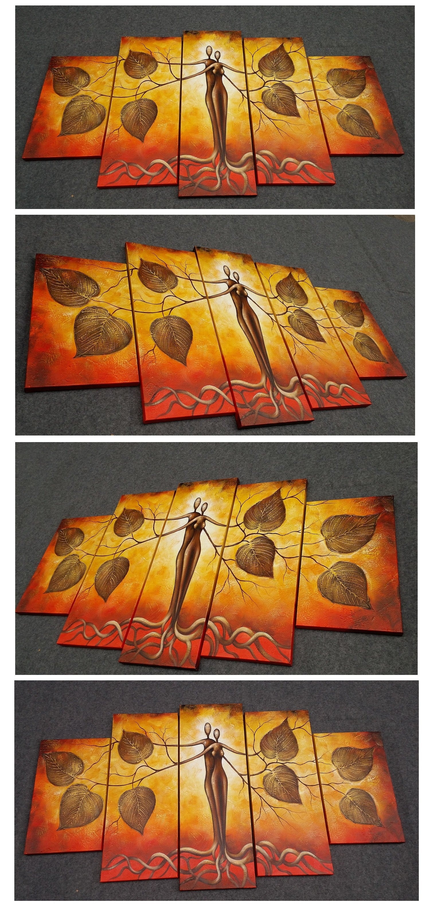 Painting Samples Of 5 Piece Canvas Art Tree Of Life Painting