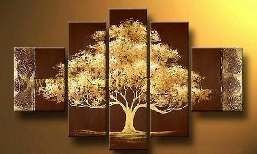 Simple Modern Art, Tree of Life Painting, Acrylic Abstract Painting, 5 Piece Canvas Painting, Acrylic Painting for Bedroom