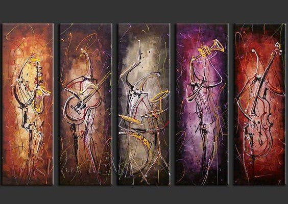 5 Piece Abstract Painting, Musician Painting, Music Painting, Acrylic Canvas Painting, Modern Paintings for Living Room