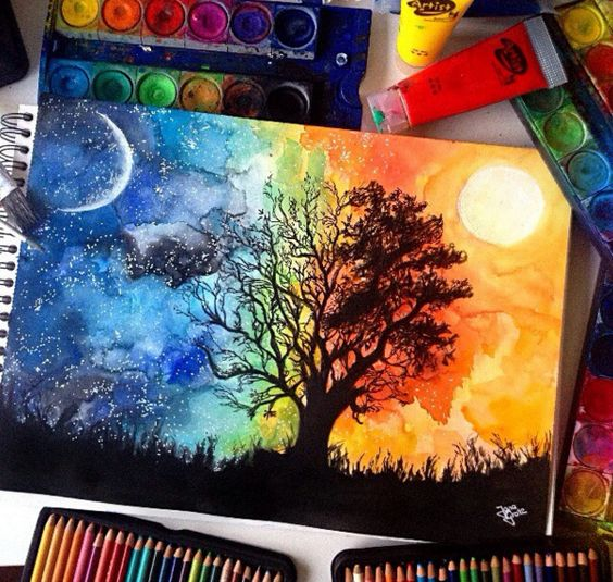 Easy landscape painting ideas for beginners, day and night painting, easy acrylic paintings, easy nature paintings, beginner's painting