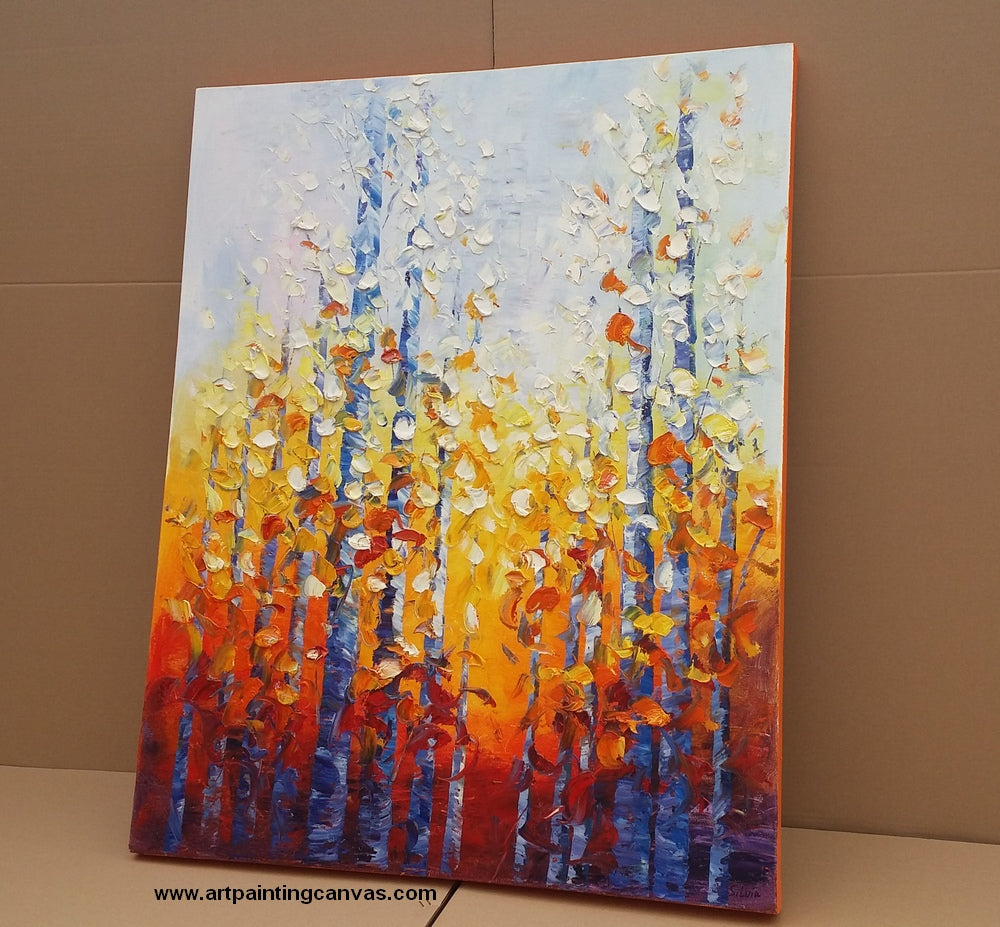 Autumn Birch Tree Painting, Landscape Painting